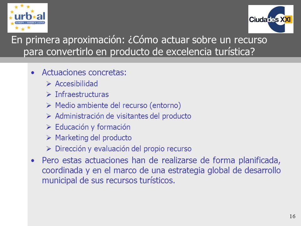 16 En primera aproximación: ¿Cómo actuar sobre un recurso para convertirlo en producto de excelencia turística? Actuaciones concretas: Accesibilidad I