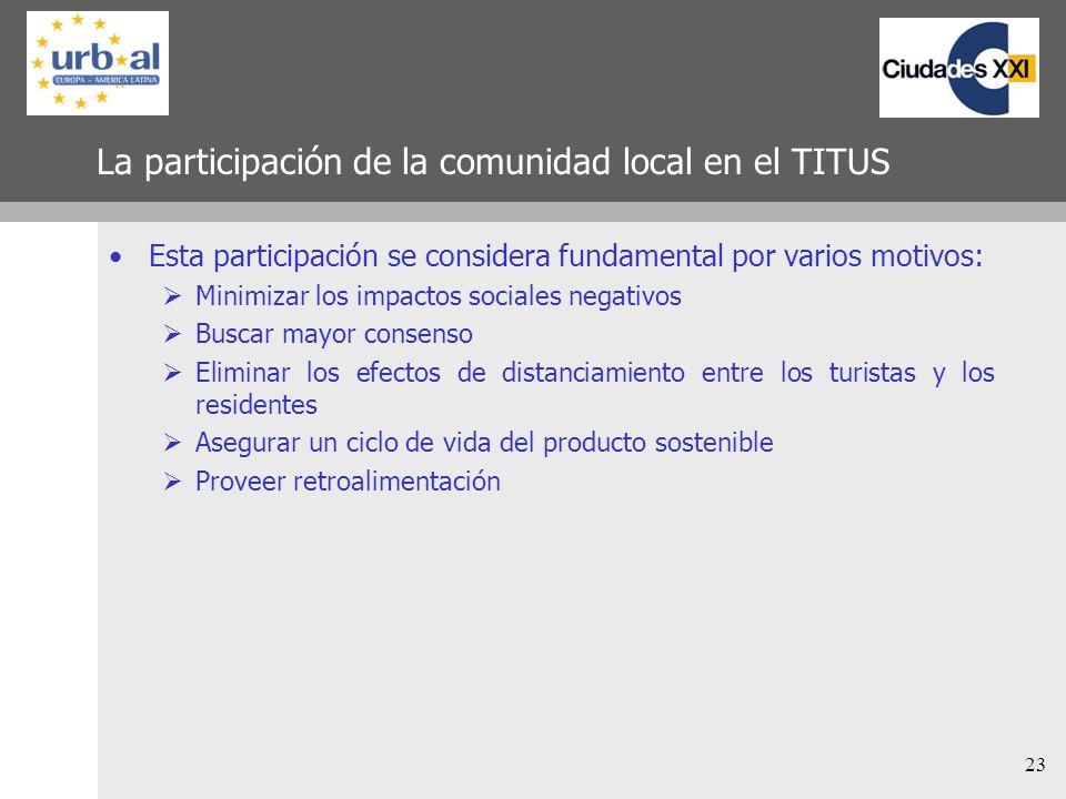 23 La participación de la comunidad local en el TITUS Esta participación se considera fundamental por varios motivos: Minimizar los impactos sociales
