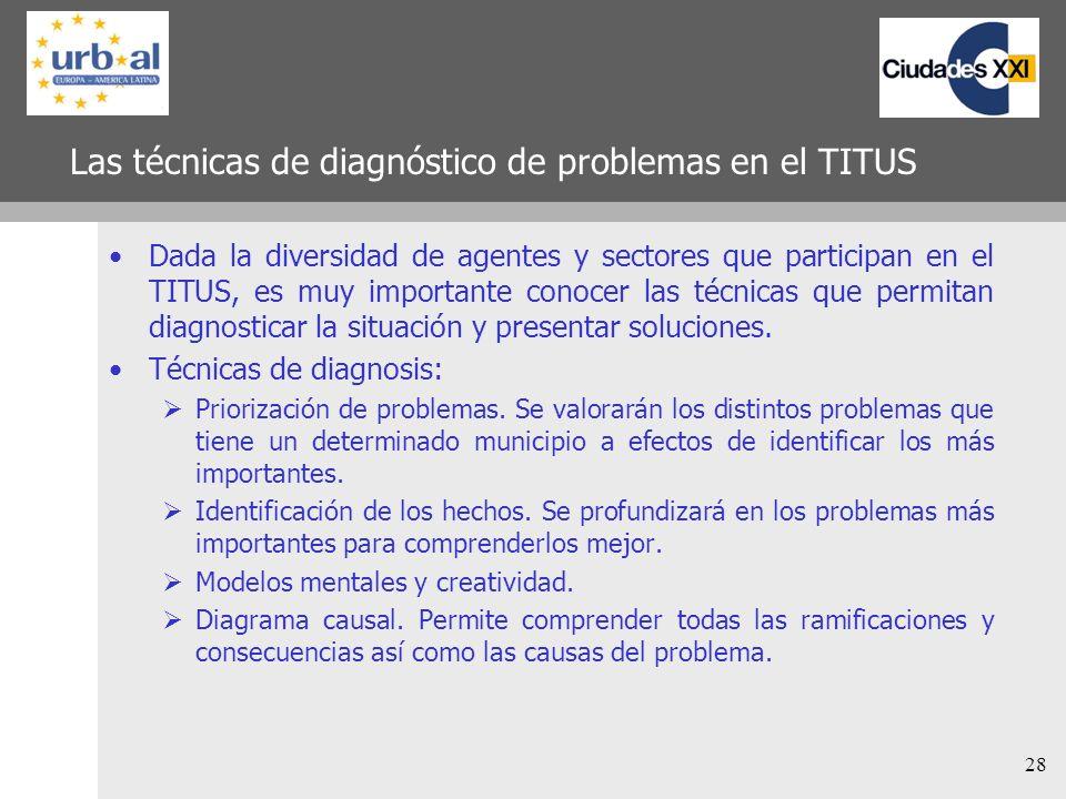 28 Las técnicas de diagnóstico de problemas en el TITUS Dada la diversidad de agentes y sectores que participan en el TITUS, es muy importante conocer