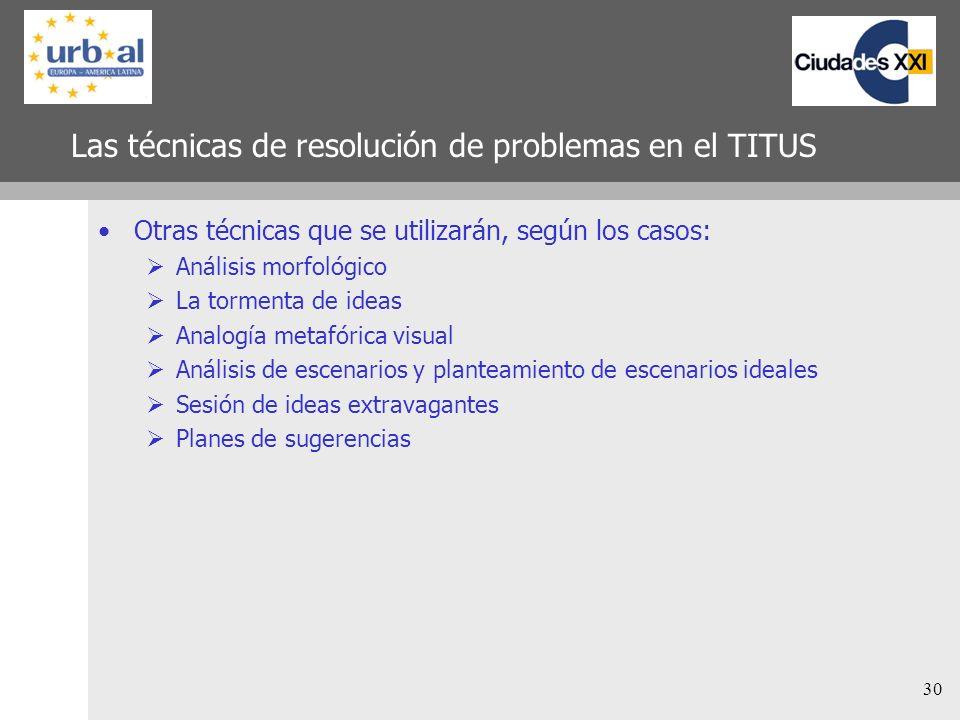 30 Las técnicas de resolución de problemas en el TITUS Otras técnicas que se utilizarán, según los casos: Análisis morfológico La tormenta de ideas An