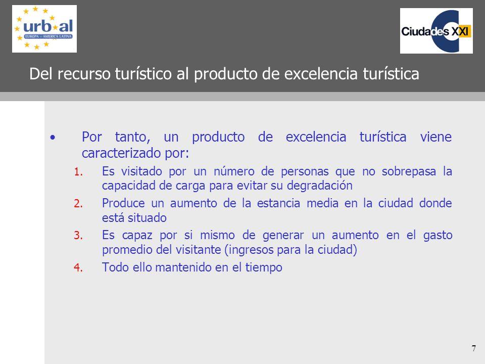 7 Del recurso turístico al producto de excelencia turística Por tanto, un producto de excelencia turística viene caracterizado por: 1. Es visitado por