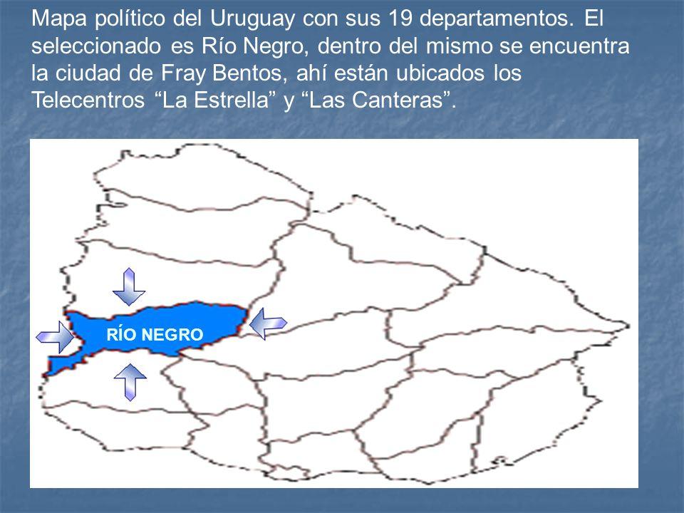Mapa político del Uruguay con sus 19 departamentos. El seleccionado es Río Negro, dentro del mismo se encuentra la ciudad de Fray Bentos, ahí están ub