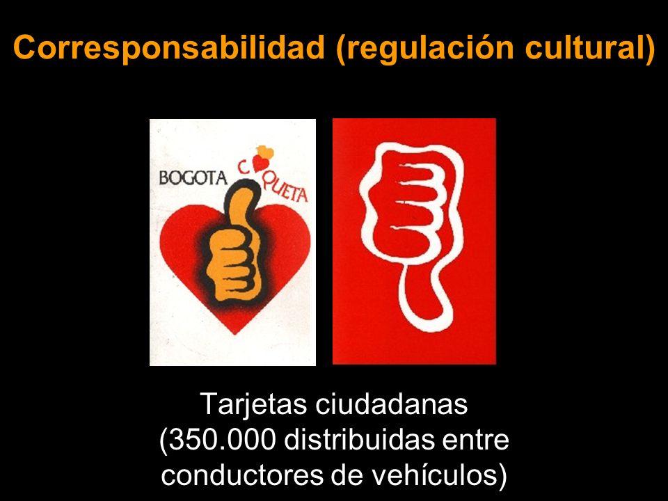 Corresponsabilidad (regulación cultural) Tarjetas ciudadanas (350.000 distribuidas entre conductores de vehículos)