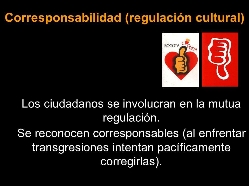 Corresponsabilidad (regulación cultural) Los ciudadanos se involucran en la mutua regulación. Se reconocen corresponsables (al enfrentar transgresione