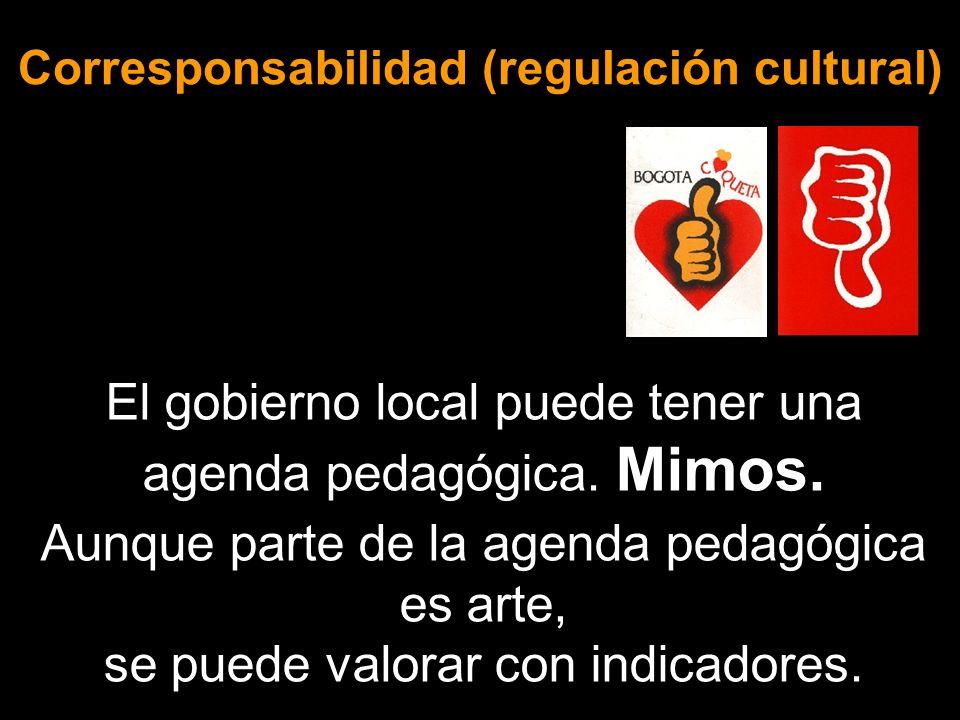 Corresponsabilidad (regulación cultural) El gobierno local puede tener una agenda pedagógica. Mimos. Aunque parte de la agenda pedagógica es arte, se