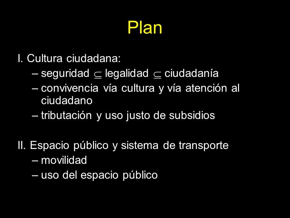 Plan I. Cultura ciudadana: –seguridad legalidad ciudadanía –convivencia vía cultura y vía atención al ciudadano –tributación y uso justo de subsidios