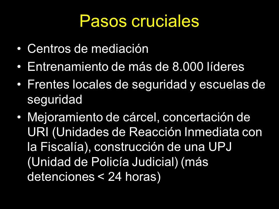 Pasos cruciales Centros de mediación Entrenamiento de más de 8.000 líderes Frentes locales de seguridad y escuelas de seguridad Mejoramiento de cárcel