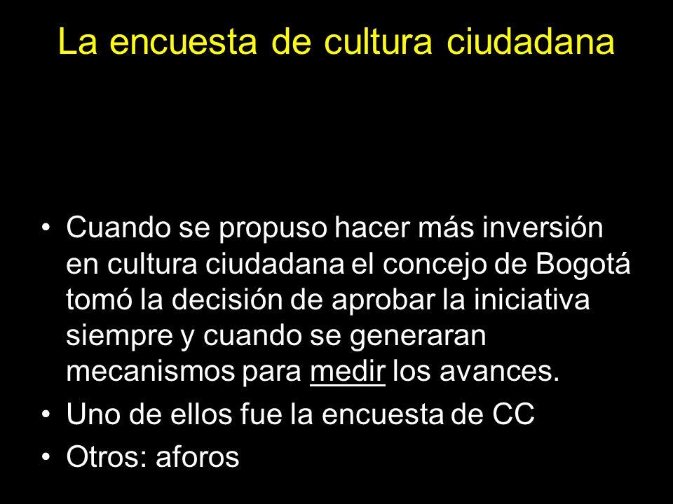 La encuesta de cultura ciudadana Cuando se propuso hacer más inversión en cultura ciudadana el concejo de Bogotá tomó la decisión de aprobar la inicia