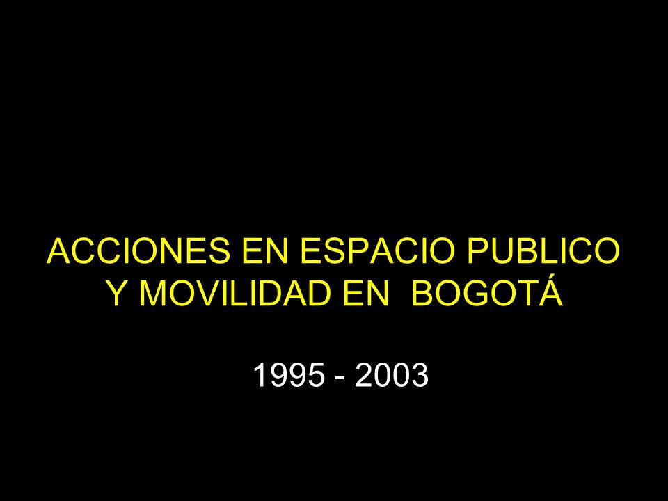 ACCIONES EN ESPACIO PUBLICO Y MOVILIDAD EN BOGOTÁ 1995 - 2003