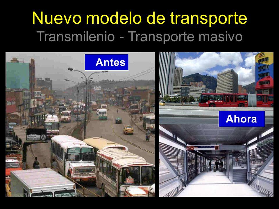 Antes Ahora Nuevo modelo de transporte Transmilenio - Transporte masivo