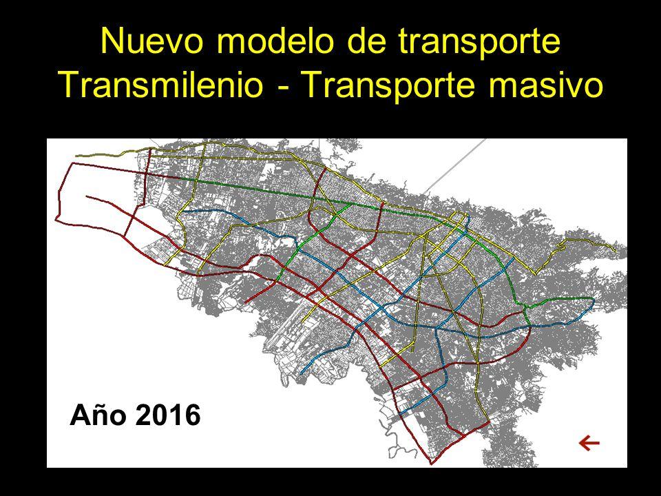 Año 2016 Nuevo modelo de transporte Transmilenio - Transporte masivo