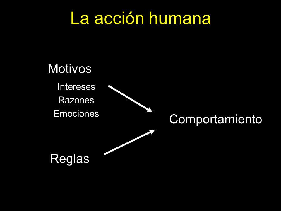 La acción humana Motivos Reglas Comportamiento Intereses Razones Emociones