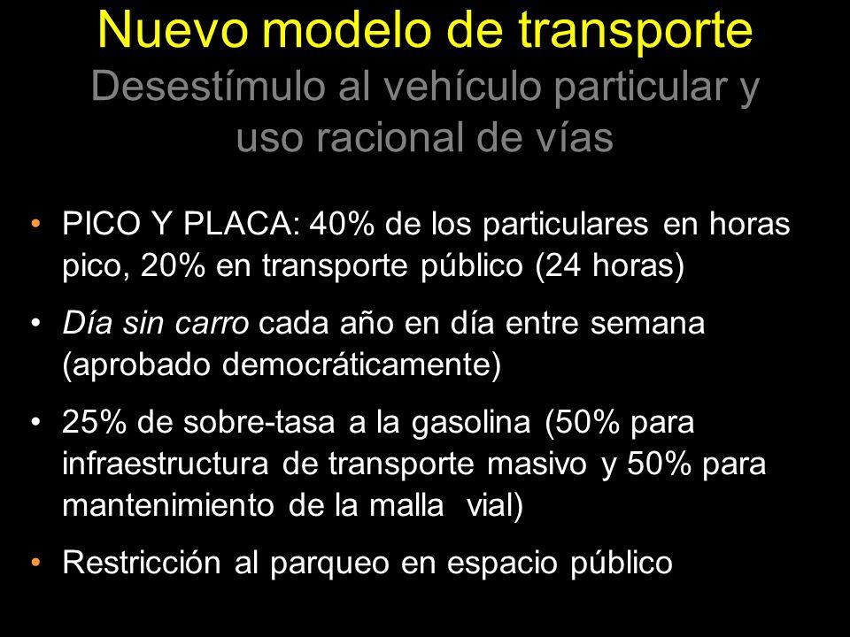 PICO Y PLACA: 40% de los particulares en horas pico, 20% en transporte público (24 horas) Día sin carro cada año en día entre semana (aprobado democrá
