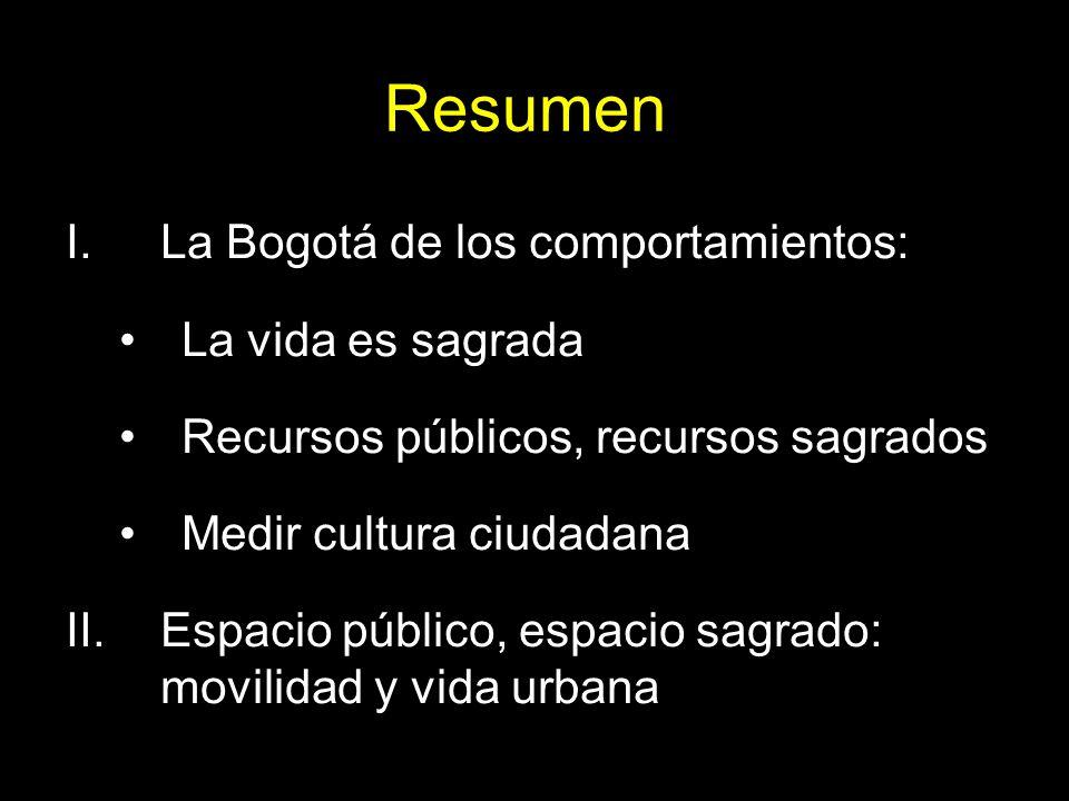 Resumen I.La Bogotá de los comportamientos: La vida es sagrada Recursos públicos, recursos sagrados Medir cultura ciudadana II.Espacio público, espaci