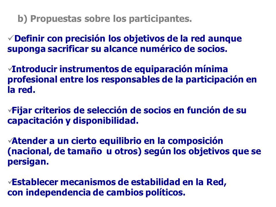 b) Propuestas sobre los participantes.