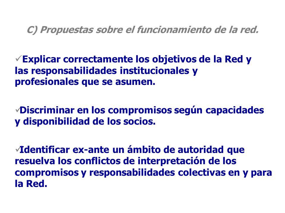 C) Propuestas sobre el funcionamiento de la red.