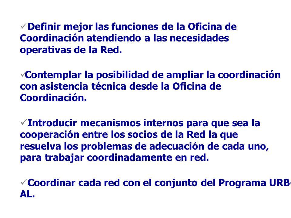 Definir mejor las funciones de la Oficina de Coordinación atendiendo a las necesidades operativas de la Red.