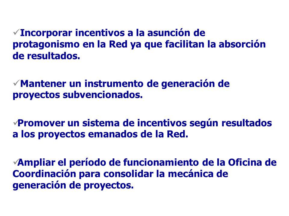 Incorporar incentivos a la asunción de protagonismo en la Red ya que facilitan la absorción de resultados.