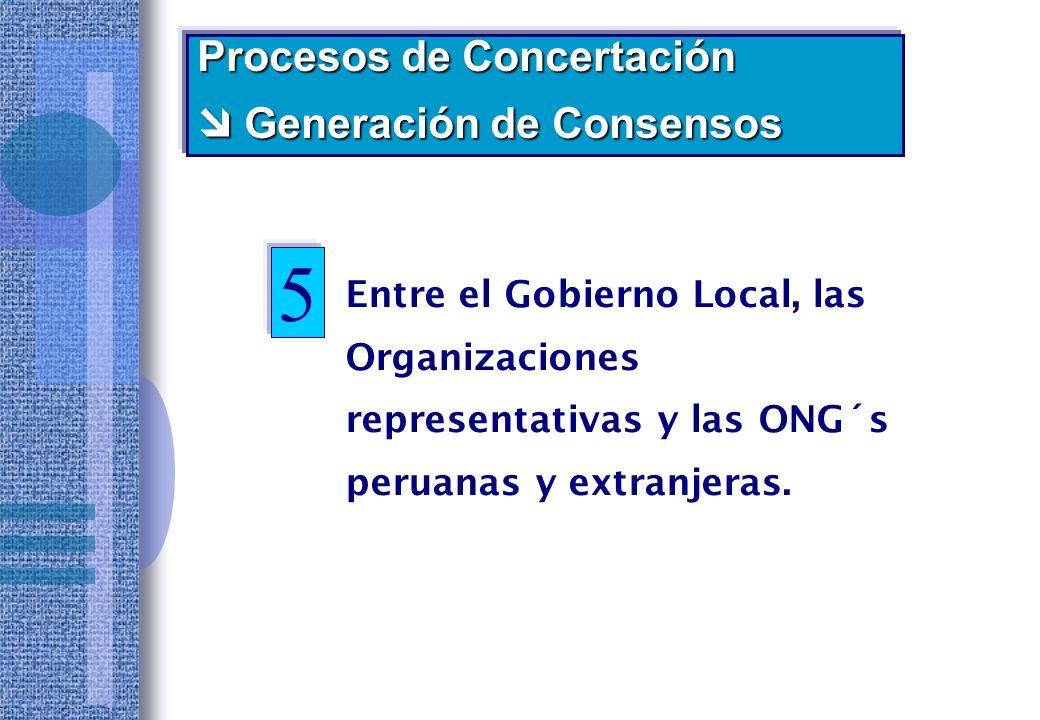 Entre el Gobierno Local y la gran Empresa instalada en el Distrito: Procesos de Concertación Generación de Consensos Generación de Consensos Cementos Lima Saga Falabella Rossell Bellsouth Banco de Crédito Alcatel Lidercom (2005) 4