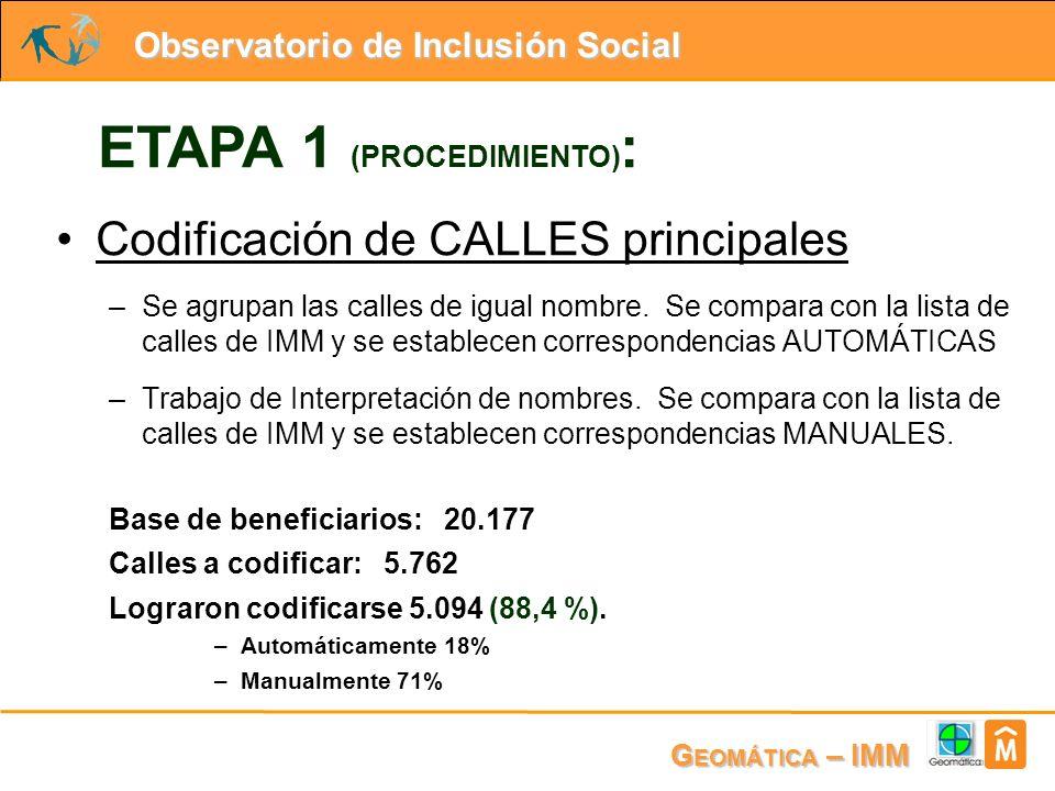 Observatorio de Inclusión Social G EOMÁTICA – IMM ETAPA 1 (PROCEDIMIENTO) : Codificación de CALLES principales –Se agrupan las calles de igual nombre.
