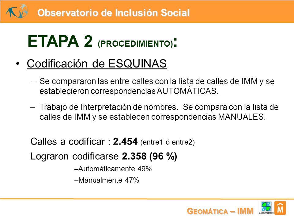 Observatorio de Inclusión Social G EOMÁTICA – IMM ETAPA 2 (PROCEDIMIENTO) : Codificación de ESQUINAS –Se compararon las entre-calles con la lista de calles de IMM y se establecieron correspondencias AUTOMÁTICAS.