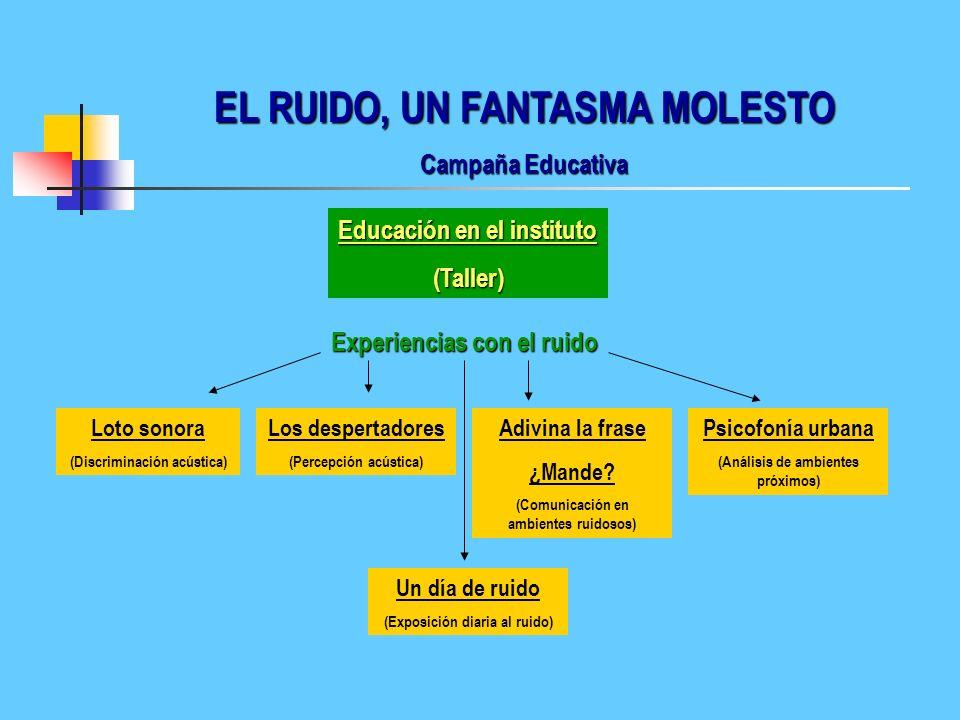 EL RUIDO, UN FANTASMA MOLESTO Campaña Educativa Educación en el instituto (Charla participativa) Aldea global Medio ambiente urbano Efecto mariposa El
