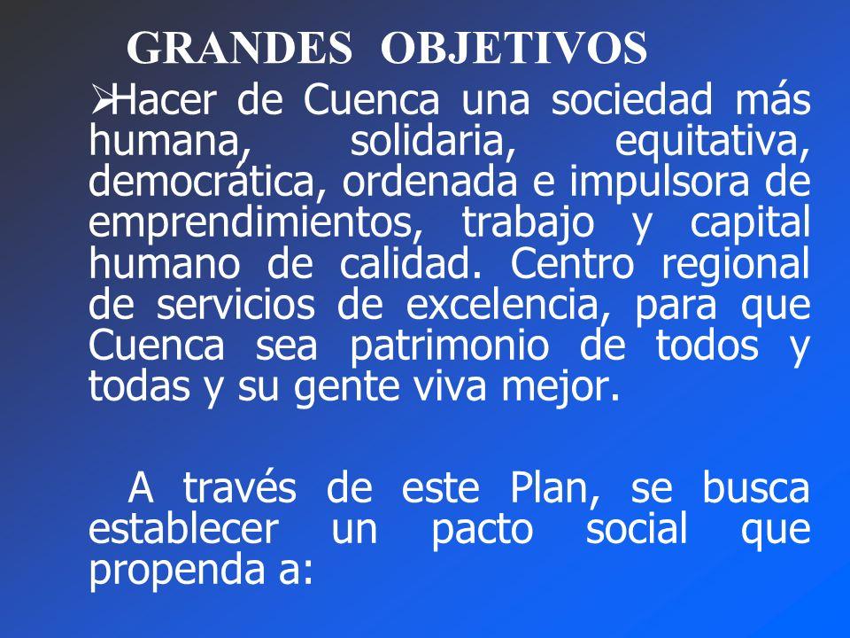 GRANDES OBJETIVOS Hacer de Cuenca una sociedad más humana, solidaria, equitativa, democrática, ordenada e impulsora de emprendimientos, trabajo y capital humano de calidad.