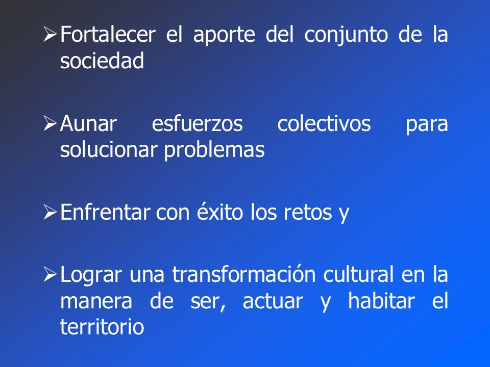 Fortalecer el aporte del conjunto de la sociedad Aunar esfuerzos colectivos para solucionar problemas Enfrentar con éxito los retos y Lograr una transformación cultural en la manera de ser, actuar y habitar el territorio