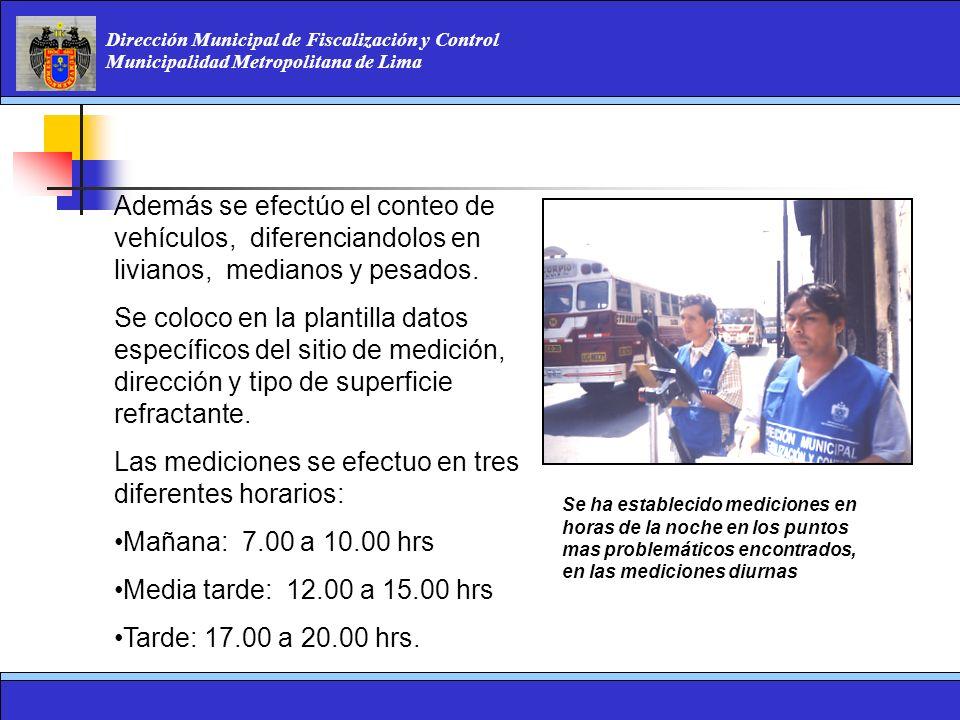 Dirección Municipal de Fiscalización y Control Municipalidad Metropolitana de Lima Además se efectúo el conteo de vehículos, diferenciandolos en livia