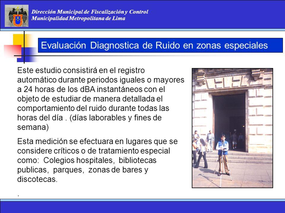 Dirección Municipal de Fiscalización y Control Municipalidad Metropolitana de Lima Evaluación Diagnostica de Ruido en zonas especiales Este estudio co