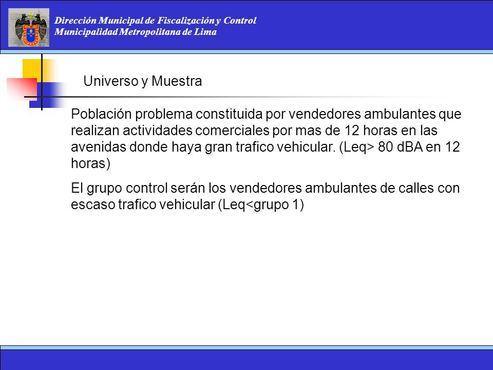 Dirección Municipal de Fiscalización y Control Municipalidad Metropolitana de Lima Población problema constituida por vendedores ambulantes que realiz