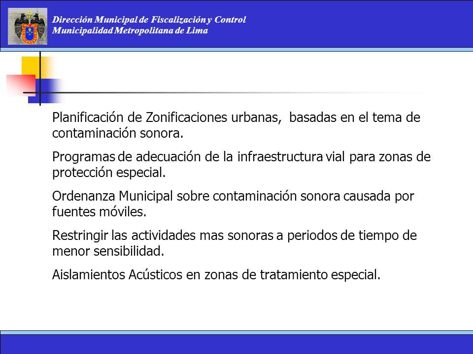 Dirección Municipal de Fiscalización y Control Municipalidad Metropolitana de Lima Planificación de Zonificaciones urbanas, basadas en el tema de cont