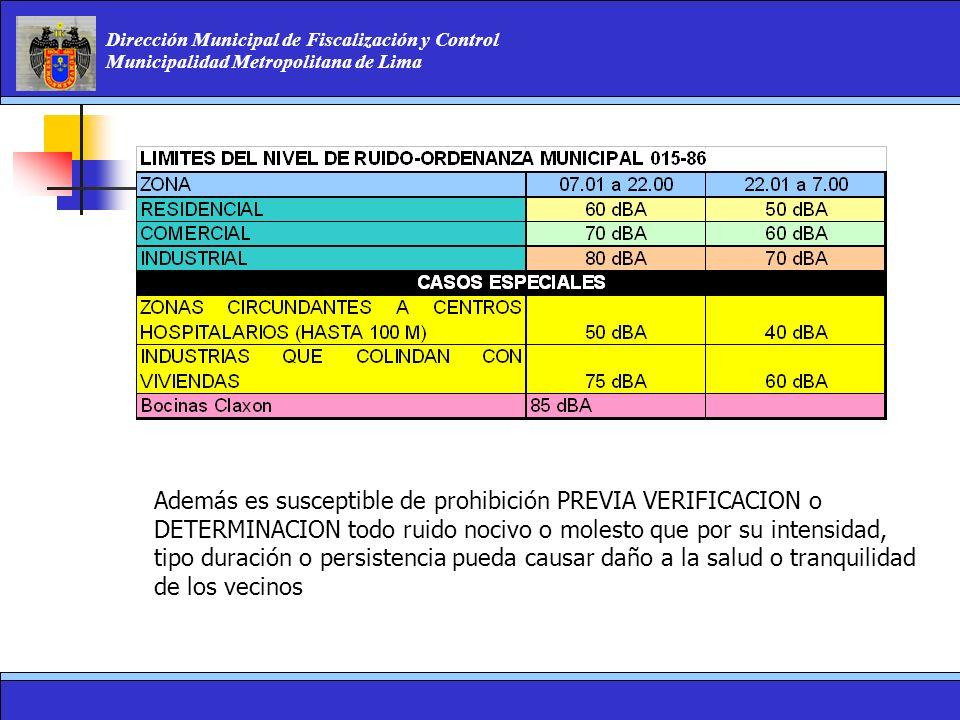 Dirección Municipal de Fiscalización y Control Municipalidad Metropolitana de Lima Además es susceptible de prohibición PREVIA VERIFICACION o DETERMIN