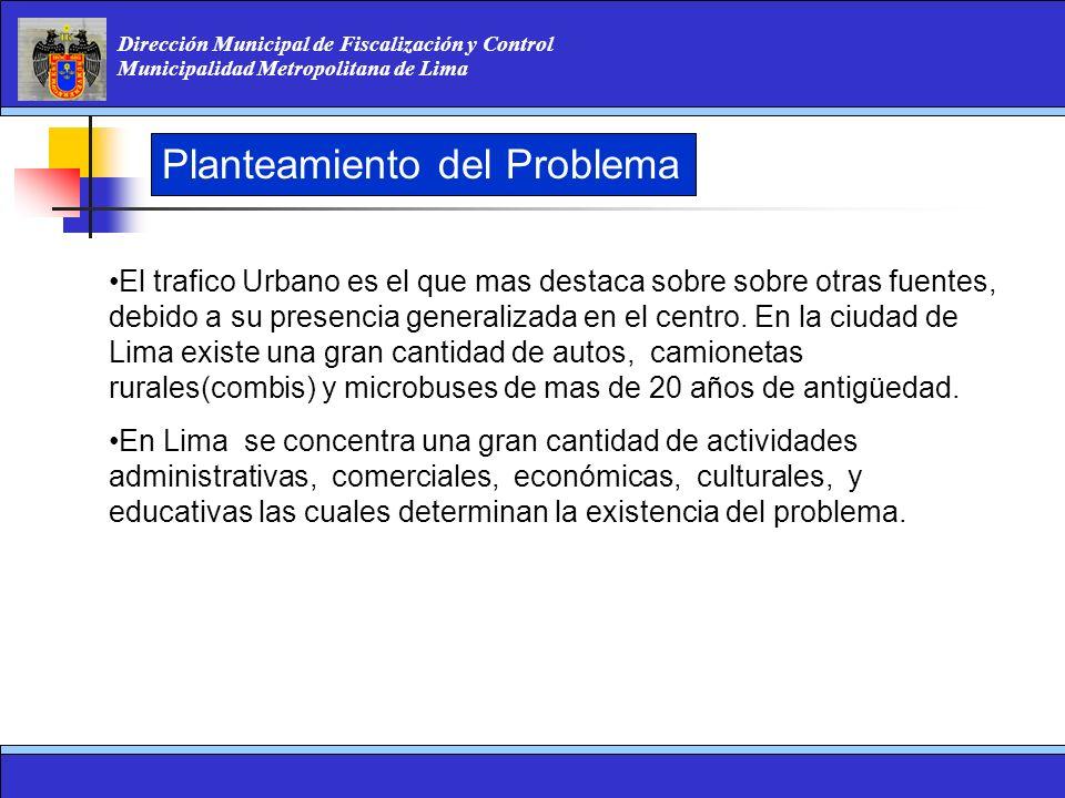 Dirección Municipal de Fiscalización y Control Municipalidad Metropolitana de Lima El trafico Urbano es el que mas destaca sobre sobre otras fuentes,