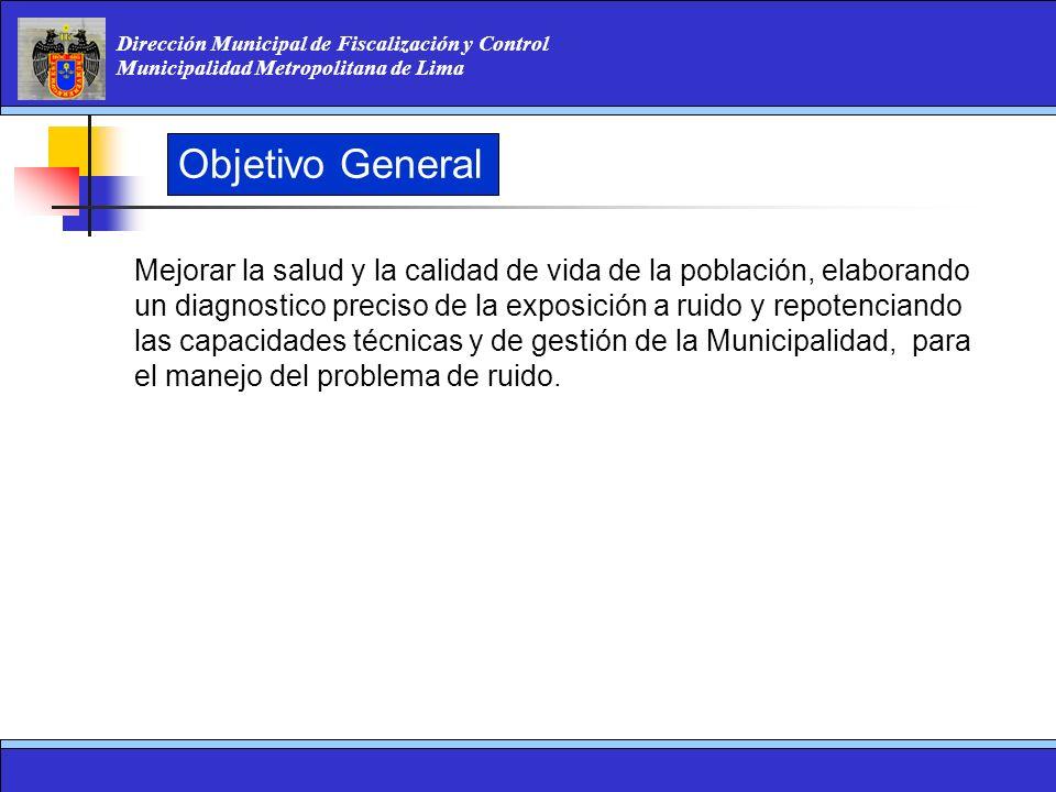 Dirección Municipal de Fiscalización y Control Municipalidad Metropolitana de Lima Objetivo General Mejorar la salud y la calidad de vida de la poblac