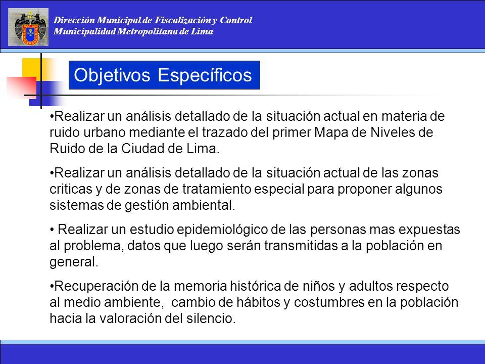 Dirección Municipal de Fiscalización y Control Municipalidad Metropolitana de Lima Objetivos Específicos Realizar un análisis detallado de la situació