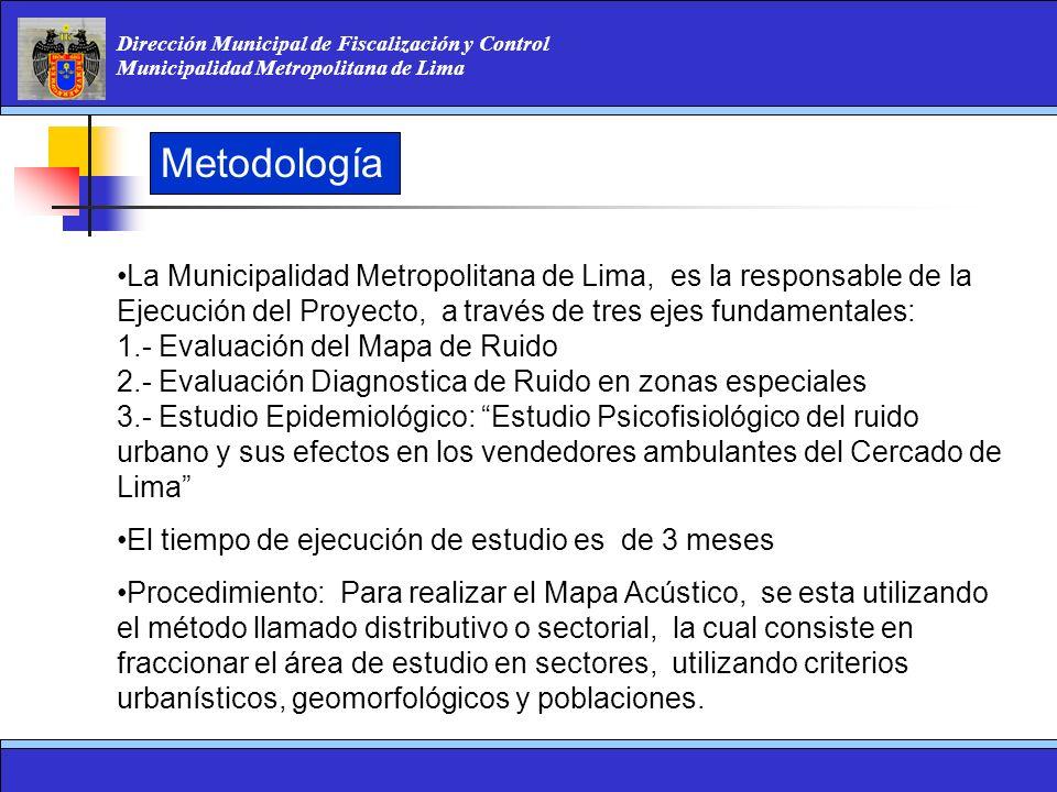 Dirección Municipal de Fiscalización y Control Municipalidad Metropolitana de Lima Metodología La Municipalidad Metropolitana de Lima, es la responsab