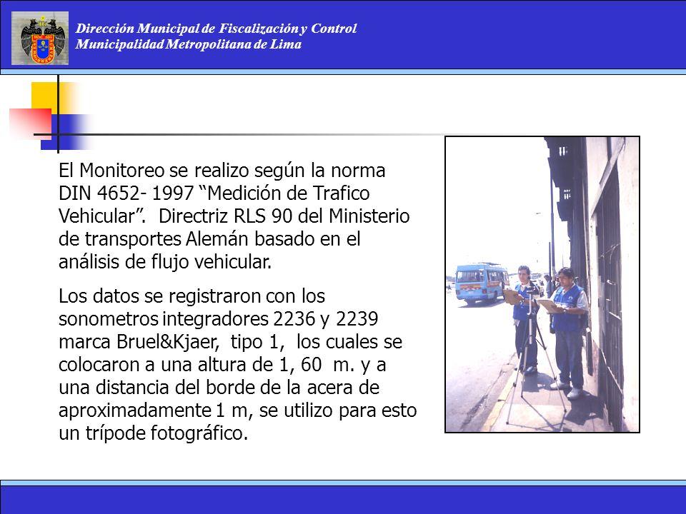 Dirección Municipal de Fiscalización y Control Municipalidad Metropolitana de Lima El Monitoreo se realizo según la norma DIN 4652- 1997 Medición de T