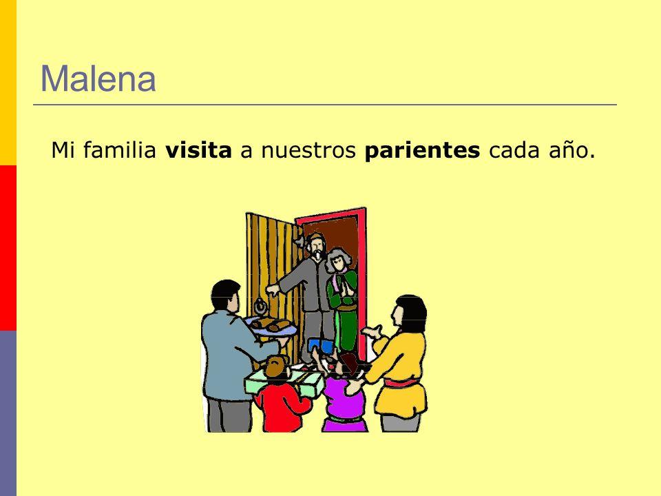 Malena Mi familia visita a nuestros parientes cada año.