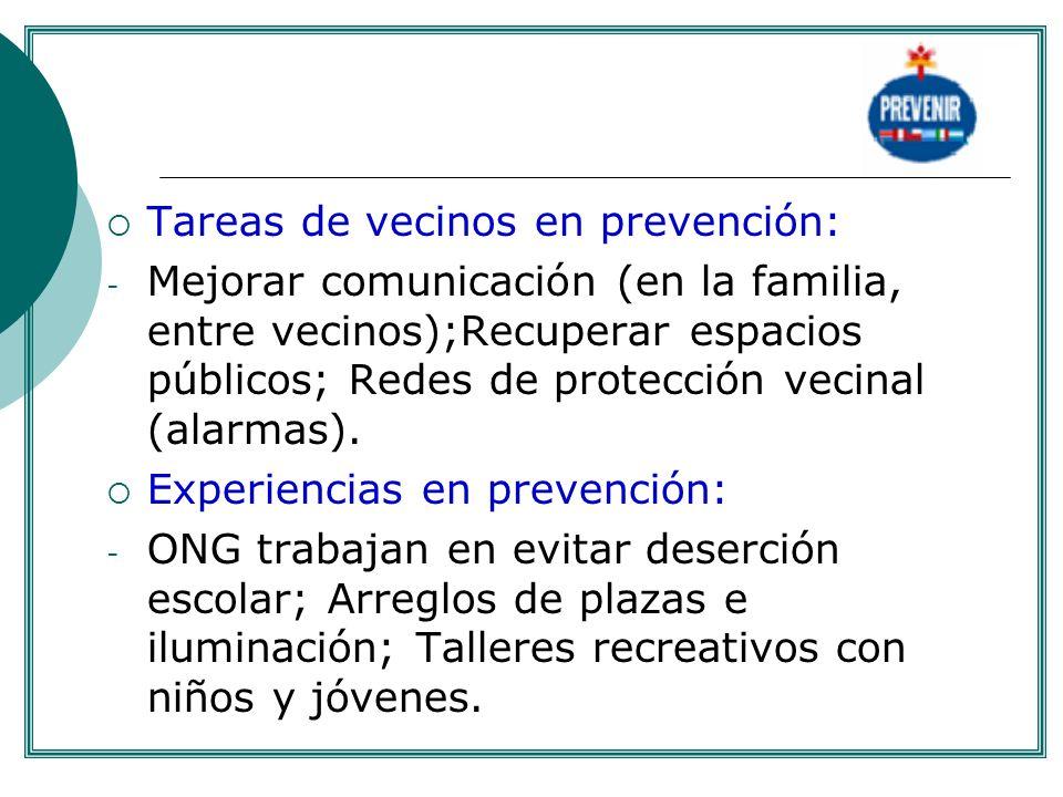 Tareas de vecinos en prevención: - Mejorar comunicación (en la familia, entre vecinos);Recuperar espacios públicos; Redes de protección vecinal (alarm