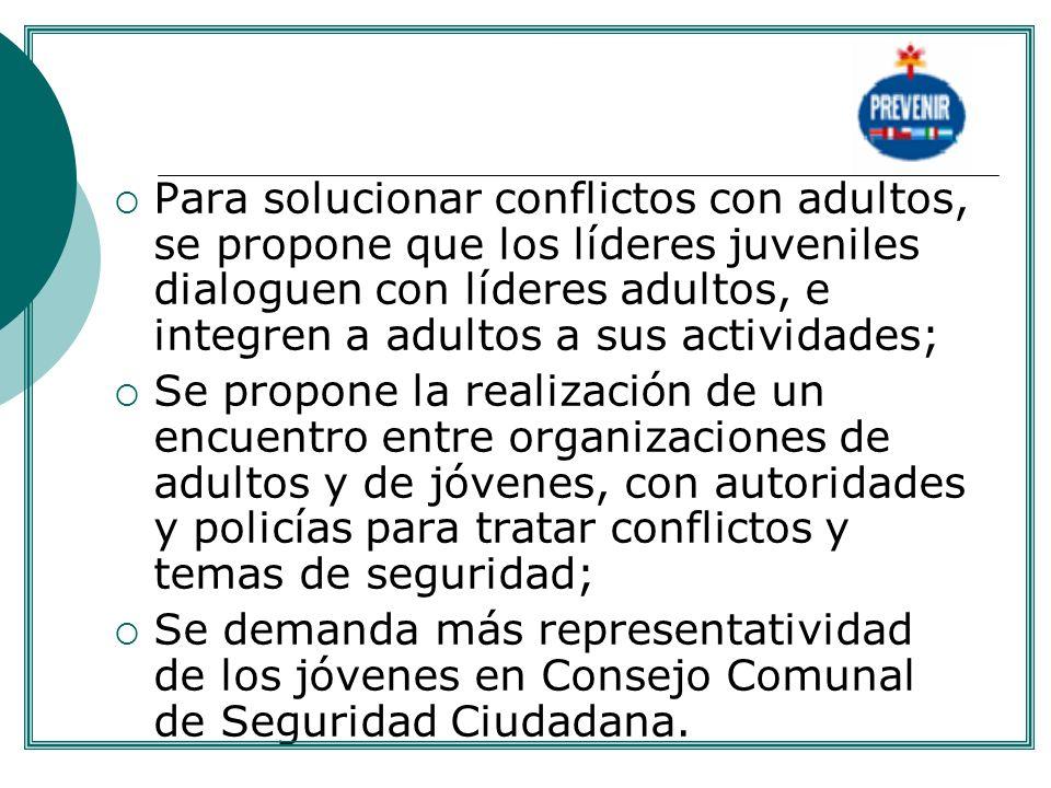 Para solucionar conflictos con adultos, se propone que los líderes juveniles dialoguen con líderes adultos, e integren a adultos a sus actividades; Se