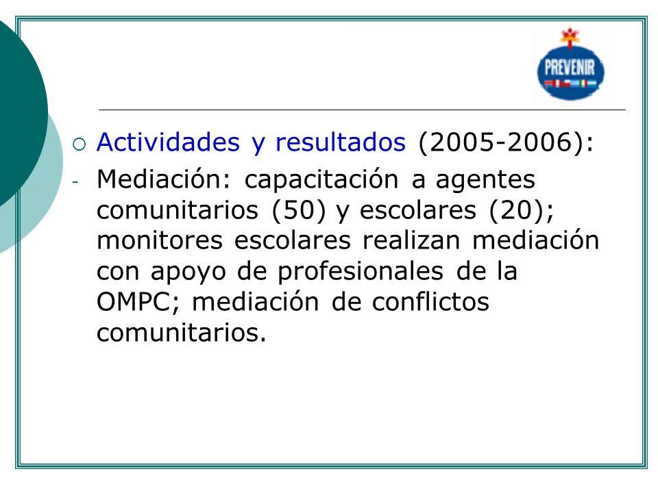 Actividades y resultados (2005-2006): - Mediación: capacitación a agentes comunitarios (50) y escolares (20); monitores escolares realizan mediación c