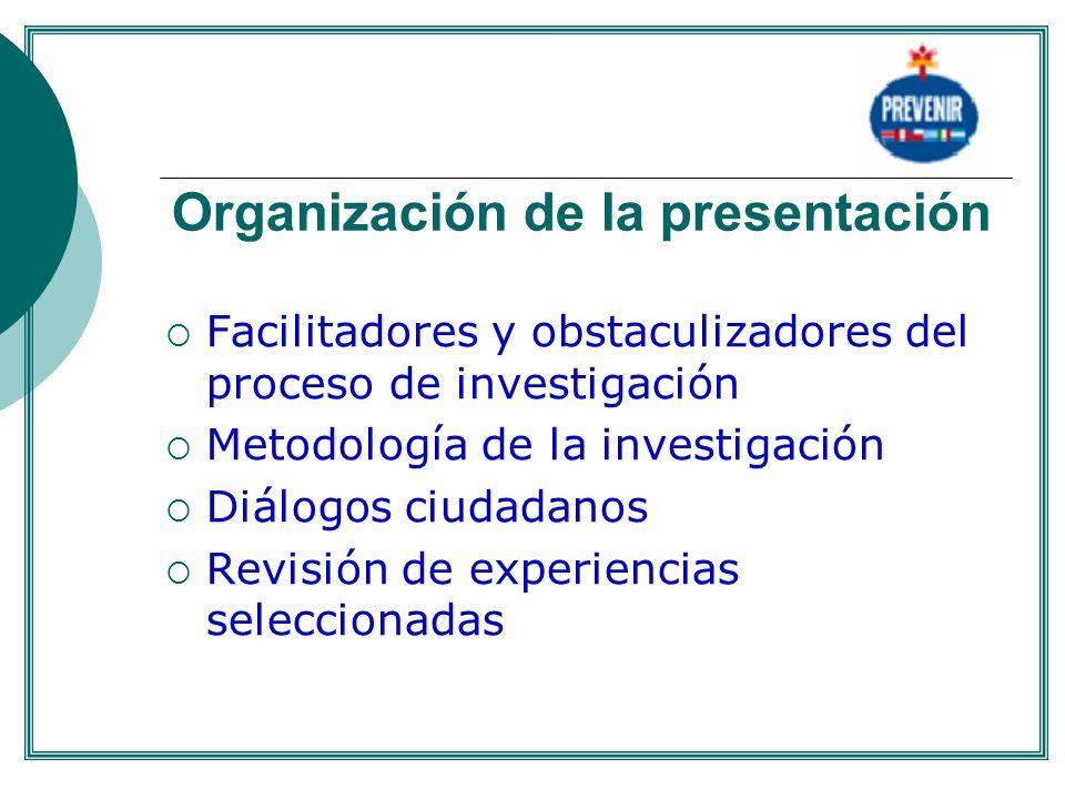 Organización de la presentación Facilitadores y obstaculizadores del proceso de investigación Metodología de la investigación Diálogos ciudadanos Revi