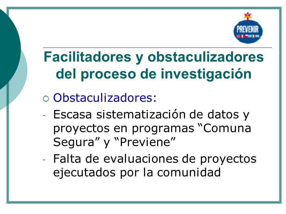 Facilitadores y obstaculizadores del proceso de investigación Obstaculizadores: - Escasa sistematización de datos y proyectos en programas Comuna Segu