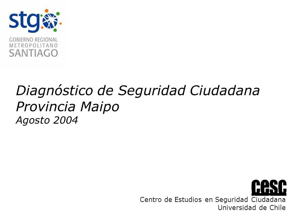 Diagnóstico de Seguridad Ciudadana Provincia Maipo Agosto 2004 Centro de Estudios en Seguridad Ciudadana Universidad de Chile
