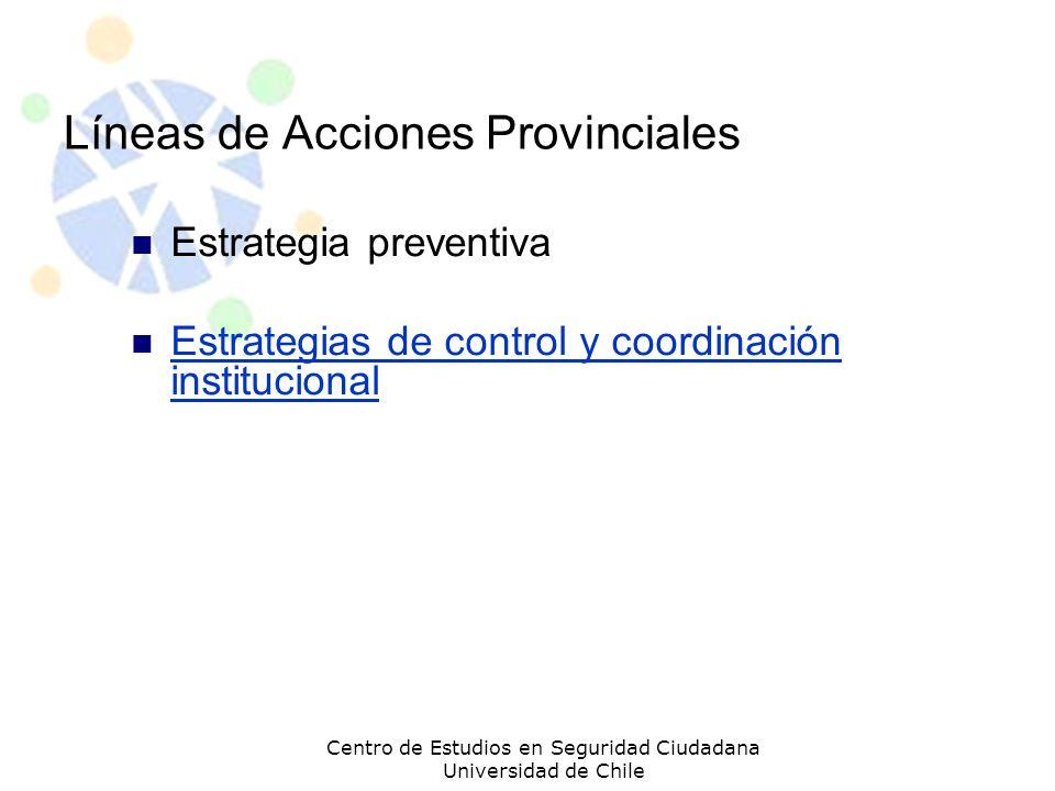Líneas de Acciones Provinciales Estrategia preventiva Estrategias de control y coordinación institucional Estrategias de control y coordinación instit