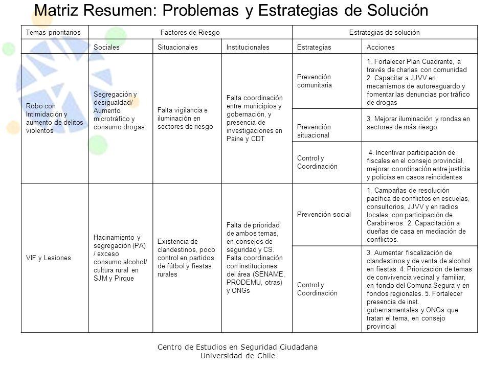 Matriz Resumen: Problemas y Estrategias de Solución Centro de Estudios en Seguridad Ciudadana Universidad de Chile Temas prioritariosFactores de Riesg