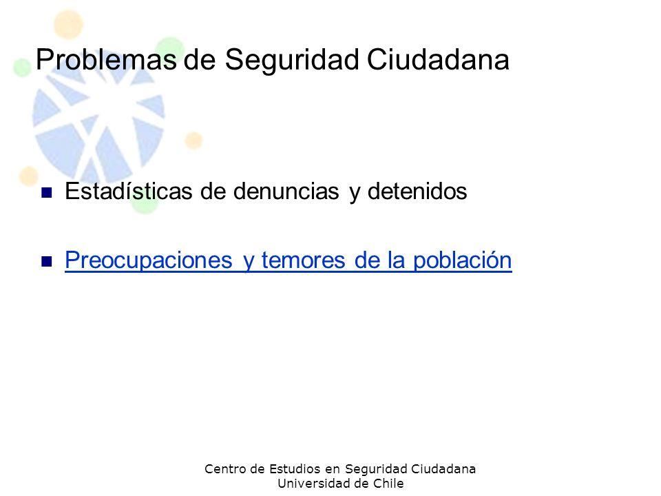 Problemas de Seguridad Ciudadana Estadísticas de denuncias y detenidos Preocupaciones y temores de la población Centro de Estudios en Seguridad Ciudad