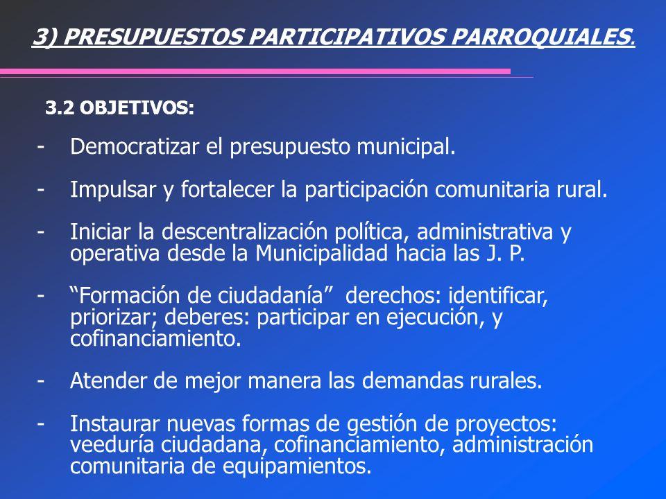 -Democratizar el presupuesto municipal. -Impulsar y fortalecer la participación comunitaria rural. -Iniciar la descentralización política, administrat