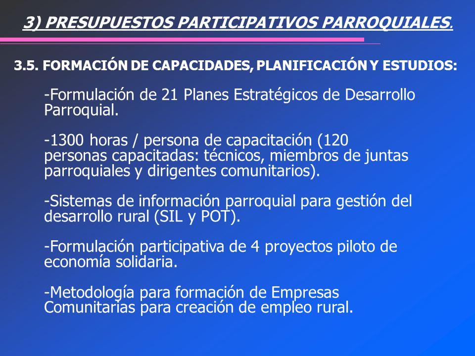 -Formulación de 21 Planes Estratégicos de Desarrollo Parroquial. -1300 horas / persona de capacitación (120 personas capacitadas: técnicos, miembros d